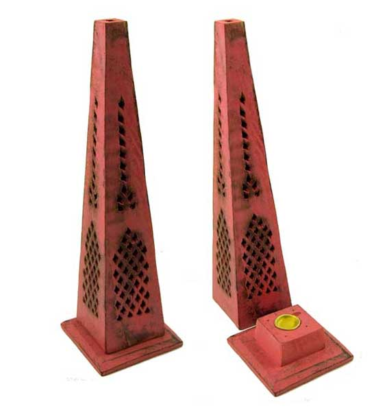 Incense And Ash Catcher Tower Pyramid Mango Wood Pink 12 Inch