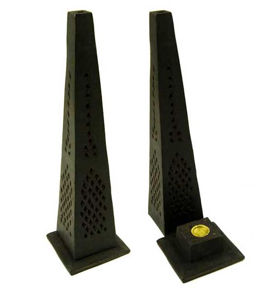 Incense And Ash Catcher Tower Pyramid Mango Wood Black 12 Inch
