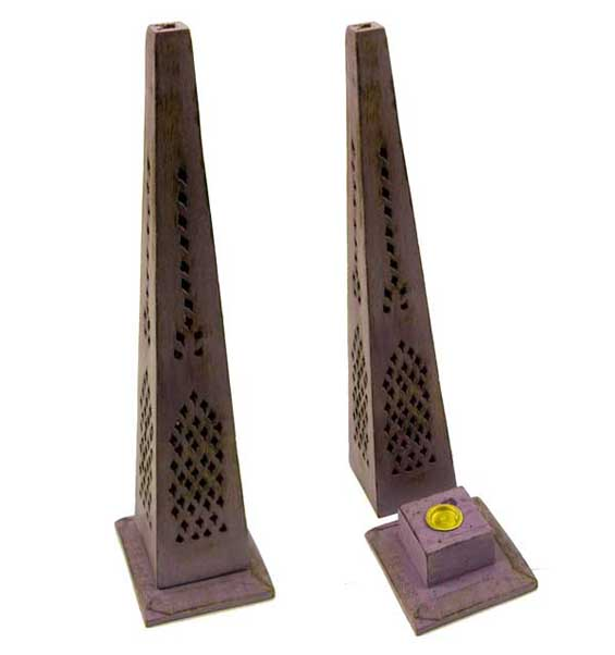 Incense And Ash Catcher Tower Pyramid Mango Wood Purple 12 Inch