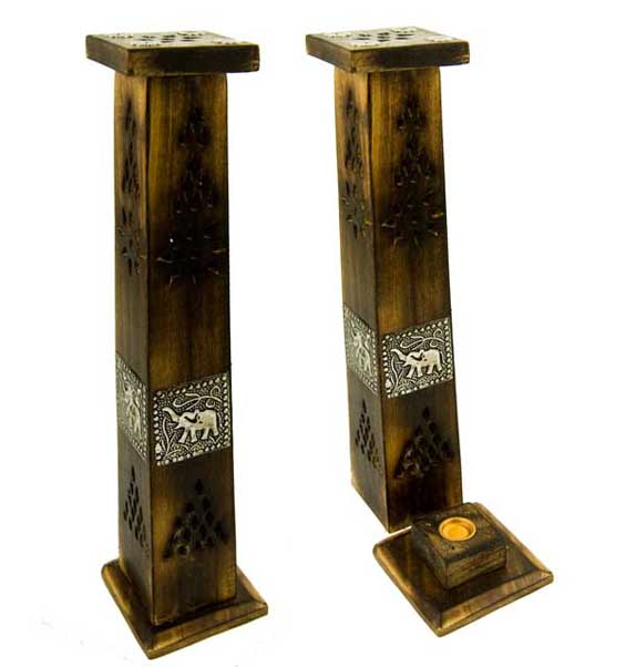 Incense Holder Tower Mango Wood Elephant 30cm