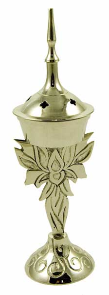 Incense Cone Holder Brass Lotus Flower Silver Colour H19cm