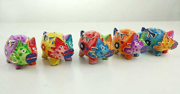 Pig Wooden Painted 5pcs