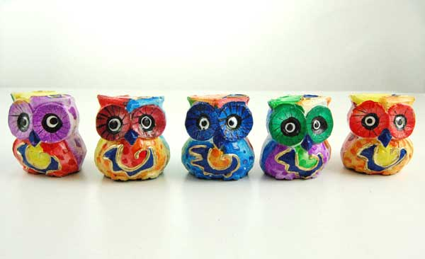 Owl Wooden Painted Set 5pcs