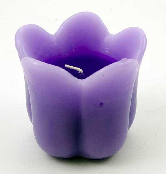 Candle Tulip Light Purple H 8Cm