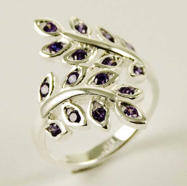 Ring Silver Leaves Amethyst